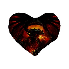 Dragon Legend Art Fire Digital Fantasy Standard 16  Premium Heart Shape Cushions
