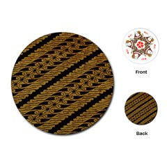 Traditional Art Indonesian Batik Playing Cards (round)