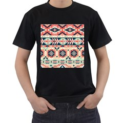 Aztec Pattern Men s T Shirt (black) (two Sided)