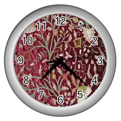 Crewel Fabric Tree Of Life Maroon Wall Clocks (silver)