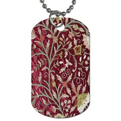 Crewel Fabric Tree Of Life Maroon Dog Tag (one Side)