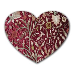 Crewel Fabric Tree Of Life Maroon Heart Mousepads