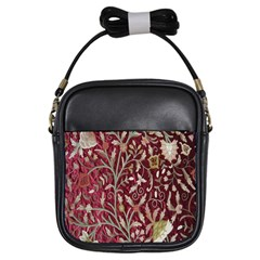Crewel Fabric Tree Of Life Maroon Girls Sling Bags by BangZart