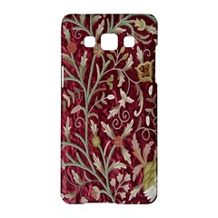 Crewel Fabric Tree Of Life Maroon Samsung Galaxy A5 Hardshell Case
