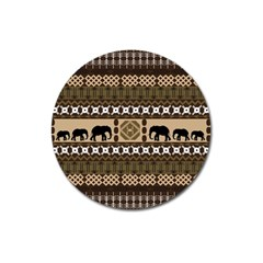 Elephant African Vector Pattern Magnet 3  (round) by BangZart