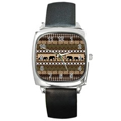 Elephant African Vector Pattern Square Metal Watch
