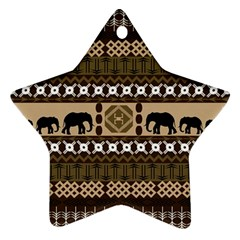 Elephant African Vector Pattern Star Ornament (two Sides) by BangZart
