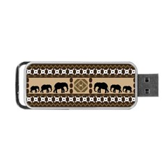 Elephant African Vector Pattern Portable Usb Flash (two Sides)
