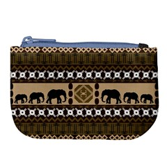 Elephant African Vector Pattern Large Coin Purse by BangZart