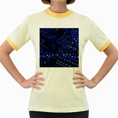 Blue Circuit Technology Image Women s Fitted Ringer T Shirts