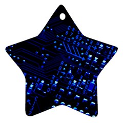 Blue Circuit Technology Image Star Ornament (two Sides)