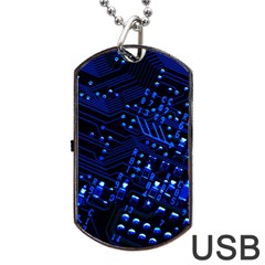 Blue Circuit Technology Image Dog Tag Usb Flash (two Sides) by BangZart