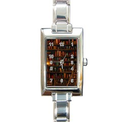 Books Library Rectangle Italian Charm Watch