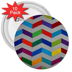 Charming Chevrons Quilt 3  Buttons (10 Pack)  by BangZart