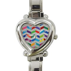 Charming Chevrons Quilt Heart Italian Charm Watch by BangZart
