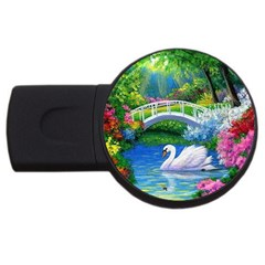Swan Bird Spring Flowers Trees Lake Pond Landscape Original Aceo Painting Art Usb Flash Drive Round (2 Gb) by BangZart