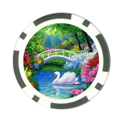 Swan Bird Spring Flowers Trees Lake Pond Landscape Original Aceo Painting Art Poker Chip Card Guard by BangZart