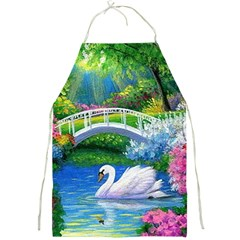 Swan Bird Spring Flowers Trees Lake Pond Landscape Original Aceo Painting Art Full Print Aprons