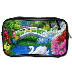 Swan Bird Spring Flowers Trees Lake Pond Landscape Original Aceo Painting Art Toiletries Bags 2 Side