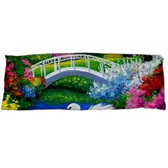Swan Bird Spring Flowers Trees Lake Pond Landscape Original Aceo Painting Art Body Pillow Case Dakimakura (two Sides)