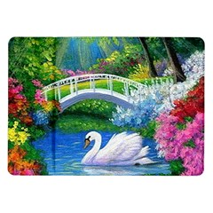 Swan Bird Spring Flowers Trees Lake Pond Landscape Original Aceo Painting Art Samsung Galaxy Tab 10 1  P7500 Flip Case