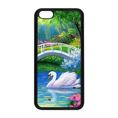 Swan Bird Spring Flowers Trees Lake Pond Landscape Original Aceo Painting Art Apple Iphone 5c Seamless Case (black) by BangZart