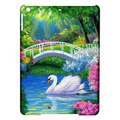 Swan Bird Spring Flowers Trees Lake Pond Landscape Original Aceo Painting Art Ipad Air Hardshell Cases by BangZart