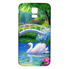 Swan Bird Spring Flowers Trees Lake Pond Landscape Original Aceo Painting Art Samsung Galaxy S5 Back Case (white)