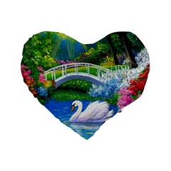 Swan Bird Spring Flowers Trees Lake Pond Landscape Original Aceo Painting Art Standard 16  Premium Flano Heart Shape Cushions by BangZart