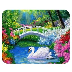 Swan Bird Spring Flowers Trees Lake Pond Landscape Original Aceo Painting Art Double Sided Flano Blanket (medium)