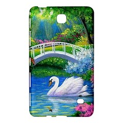 Swan Bird Spring Flowers Trees Lake Pond Landscape Original Aceo Painting Art Samsung Galaxy Tab 4 (8 ) Hardshell Case