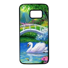 Swan Bird Spring Flowers Trees Lake Pond Landscape Original Aceo Painting Art Samsung Galaxy S7 Black Seamless Case by BangZart