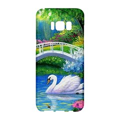 Swan Bird Spring Flowers Trees Lake Pond Landscape Original Aceo Painting Art Samsung Galaxy S8 Hardshell Case  by BangZart