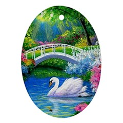 Swan Bird Spring Flowers Trees Lake Pond Landscape Original Aceo Painting Art Ornament (oval) by BangZart