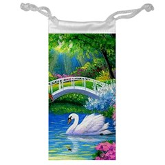 Swan Bird Spring Flowers Trees Lake Pond Landscape Original Aceo Painting Art Jewelry Bag