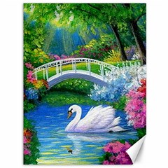 Swan Bird Spring Flowers Trees Lake Pond Landscape Original Aceo Painting Art Canvas 36  X 48   by BangZart