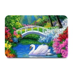 Swan Bird Spring Flowers Trees Lake Pond Landscape Original Aceo Painting Art Plate Mats by BangZart