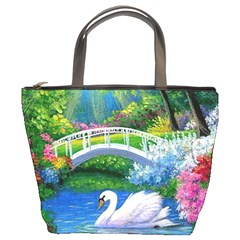 Swan Bird Spring Flowers Trees Lake Pond Landscape Original Aceo Painting Art Bucket Bags