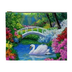 Swan Bird Spring Flowers Trees Lake Pond Landscape Original Aceo Painting Art Cosmetic Bag (xl) by BangZart