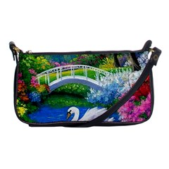 Swan Bird Spring Flowers Trees Lake Pond Landscape Original Aceo Painting Art Shoulder Clutch Bags by BangZart