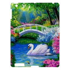 Swan Bird Spring Flowers Trees Lake Pond Landscape Original Aceo Painting Art Apple Ipad 3/4 Hardshell Case by BangZart