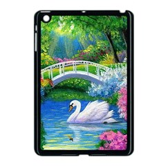 Swan Bird Spring Flowers Trees Lake Pond Landscape Original Aceo Painting Art Apple Ipad Mini Case (black)