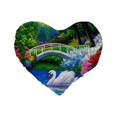 Swan Bird Spring Flowers Trees Lake Pond Landscape Original Aceo Painting Art Standard 16  Premium Heart Shape Cushions by BangZart