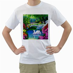 Swan Bird Spring Flowers Trees Lake Pond Landscape Original Aceo Painting Art Men s T Shirt (white)  by BangZart