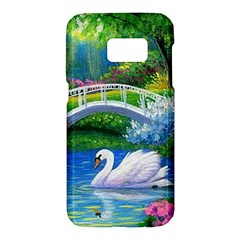 Swan Bird Spring Flowers Trees Lake Pond Landscape Original Aceo Painting Art Samsung Galaxy S7 Hardshell Case  by BangZart