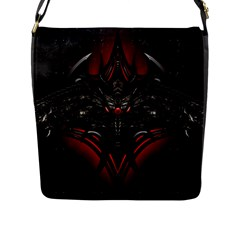 Black Dragon Grunge Flap Messenger Bag (l)