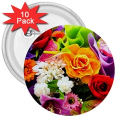 Colorful Flowers 3  Buttons (10 Pack)