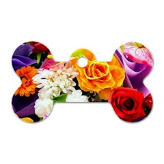 Colorful Flowers Dog Tag Bone (one Side)