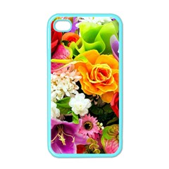 Colorful Flowers Apple Iphone 4 Case (color) by BangZart