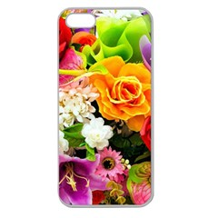 Colorful Flowers Apple Seamless Iphone 5 Case (clear) by BangZart